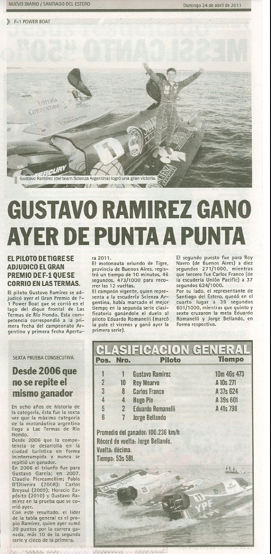 El Piloto de Tigre ganó el F1 Power Boats en las Termas